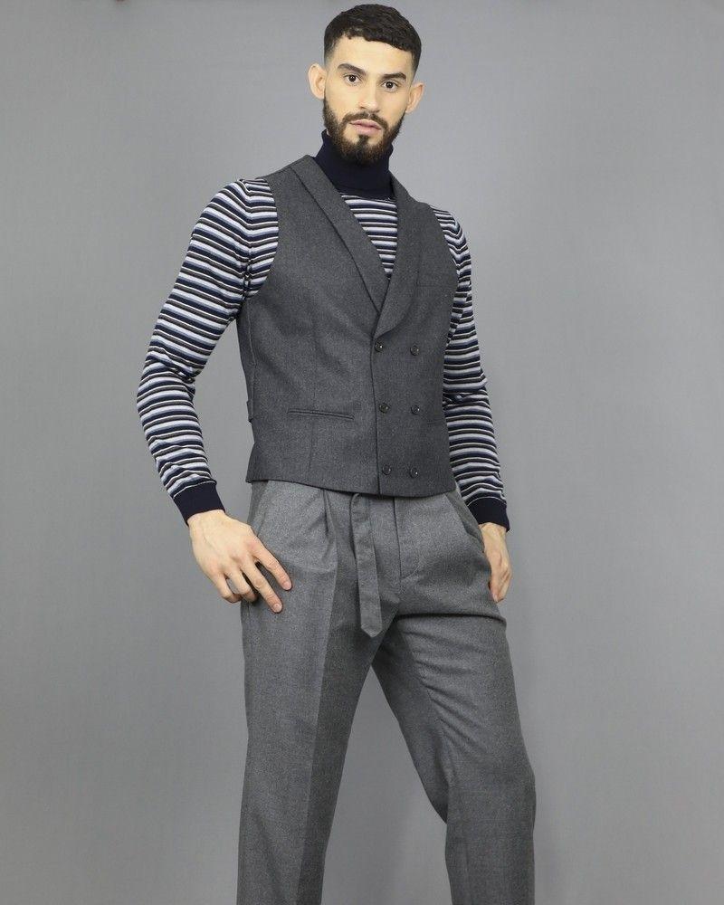 Gilet gris en laine à double boutonnage Pal Zileri