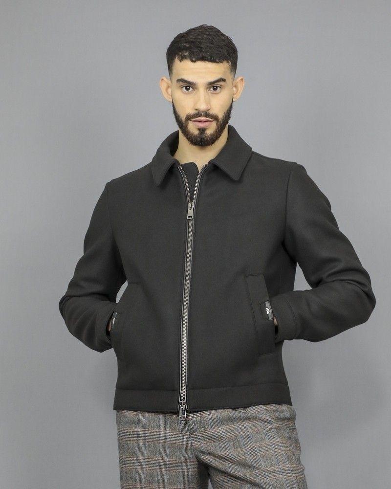 Manteau noir en laine à finitions en cuir Pal Zileri