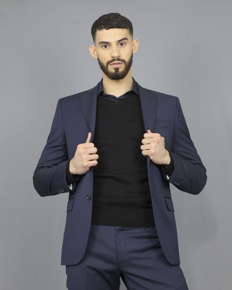 Costume bleu à fines rayures bleues et noires Corneliani