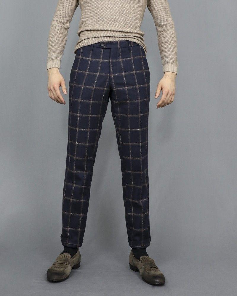 Pantalon bleu en laine mélangée à motifs à carreaux Casheart