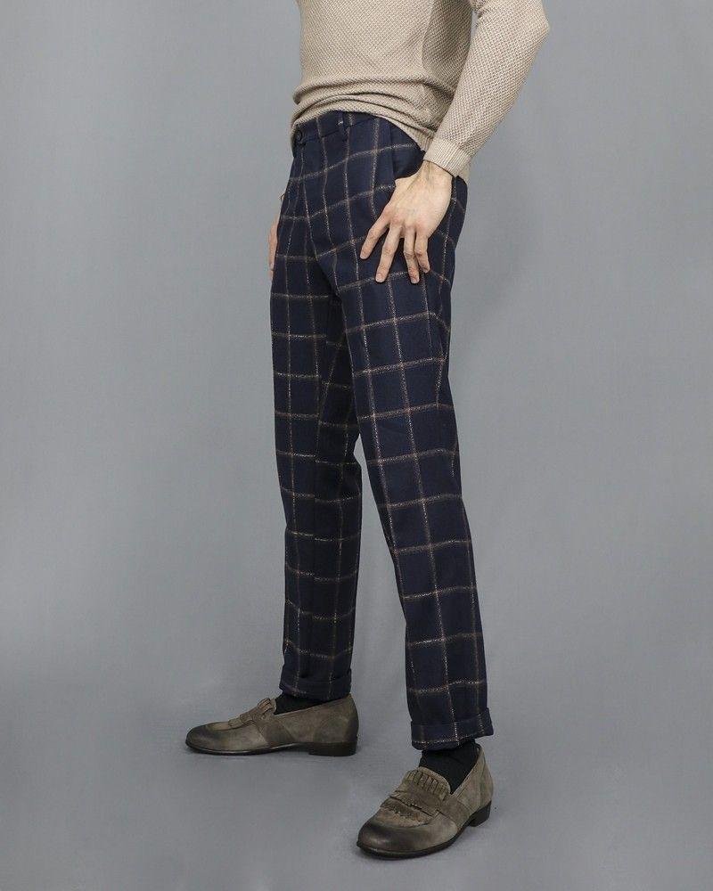 Pantalon bleu en laine mélangée à motif à carreaux Casheart