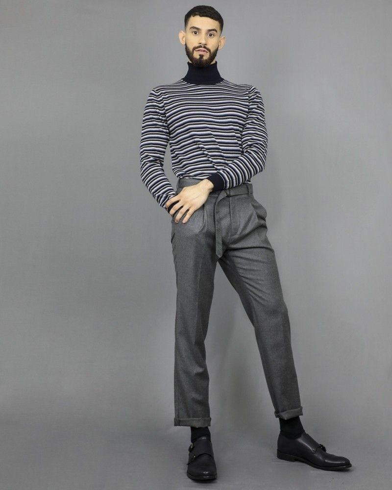 Pantalon gris en laine vierge à ceinture Ly Adams