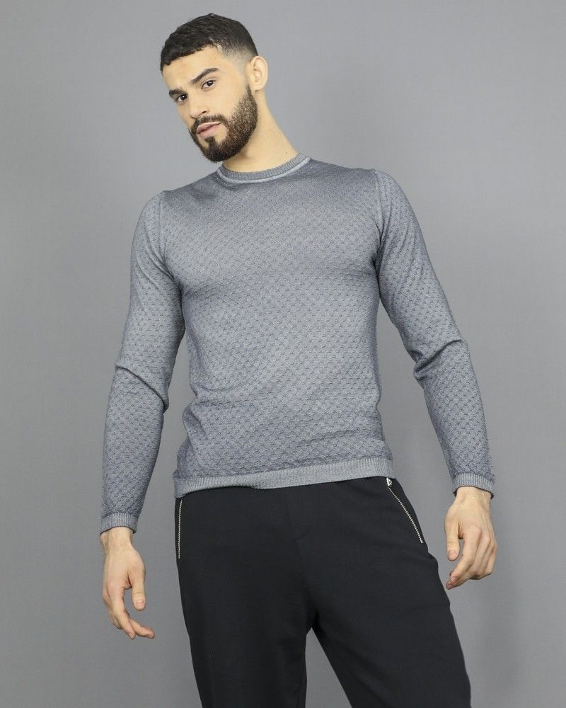 Pull perforé en laine grise extra fine Woolgroup