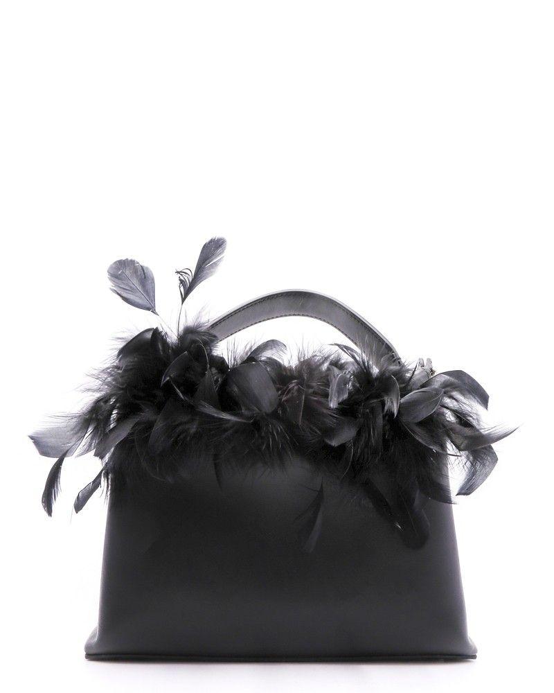 Sac en cuir noir orné des plumes Carditosale