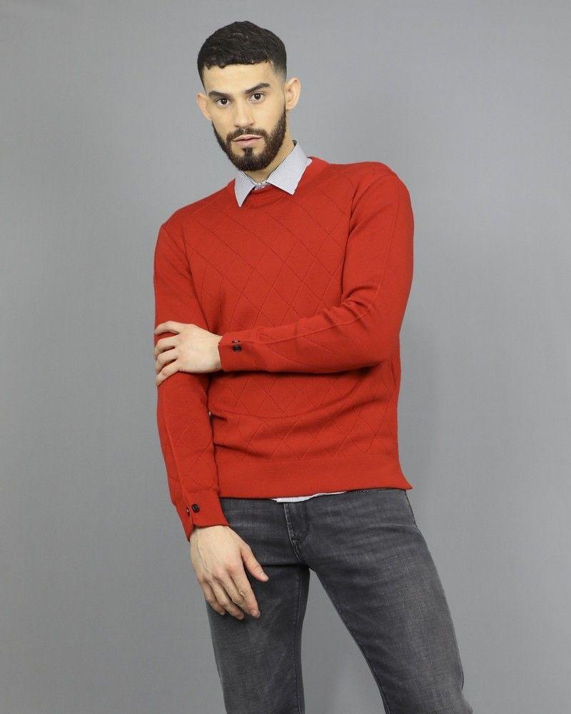 Pull en laine mélangée à mailles pointelle Obvious