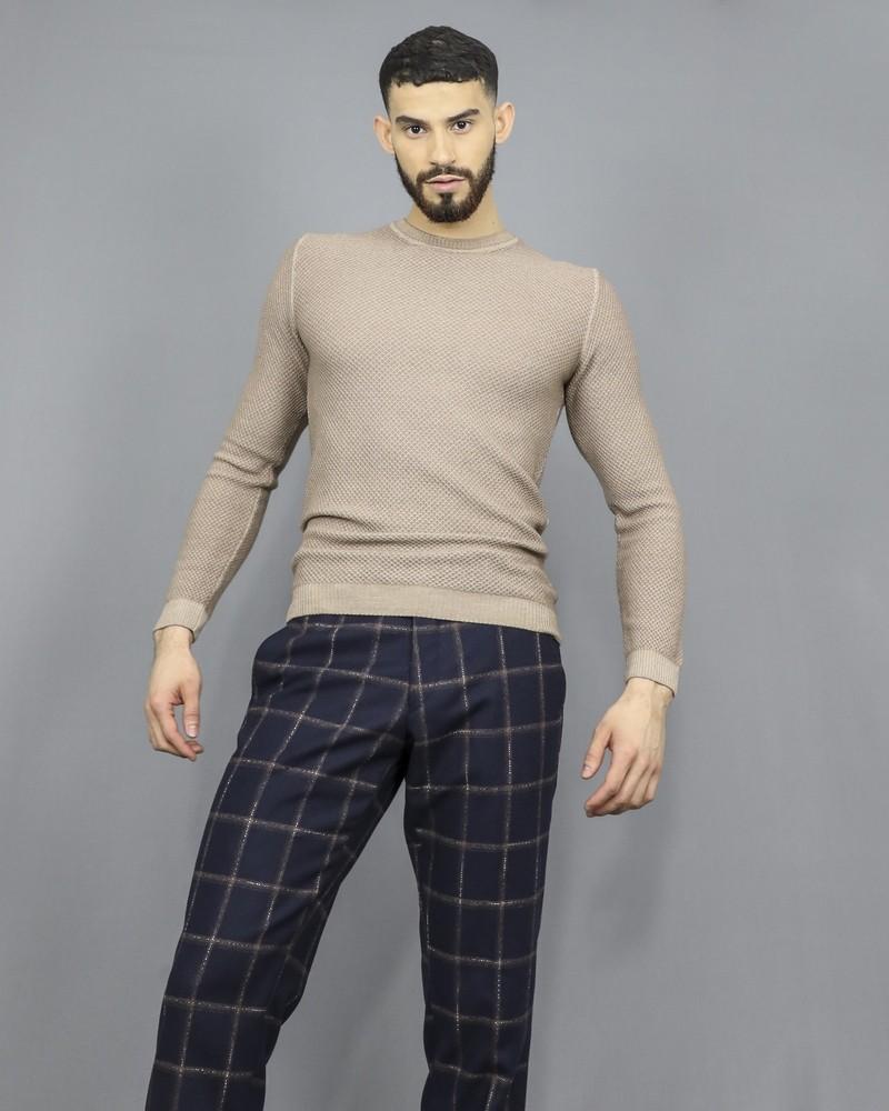 Pull en laine extra fine beige Daniele Fiesoli