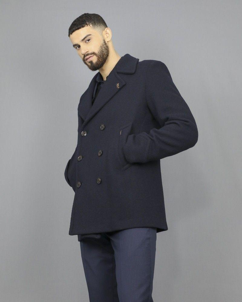 Manteau caban en laine bleu marine à empiècement Palto