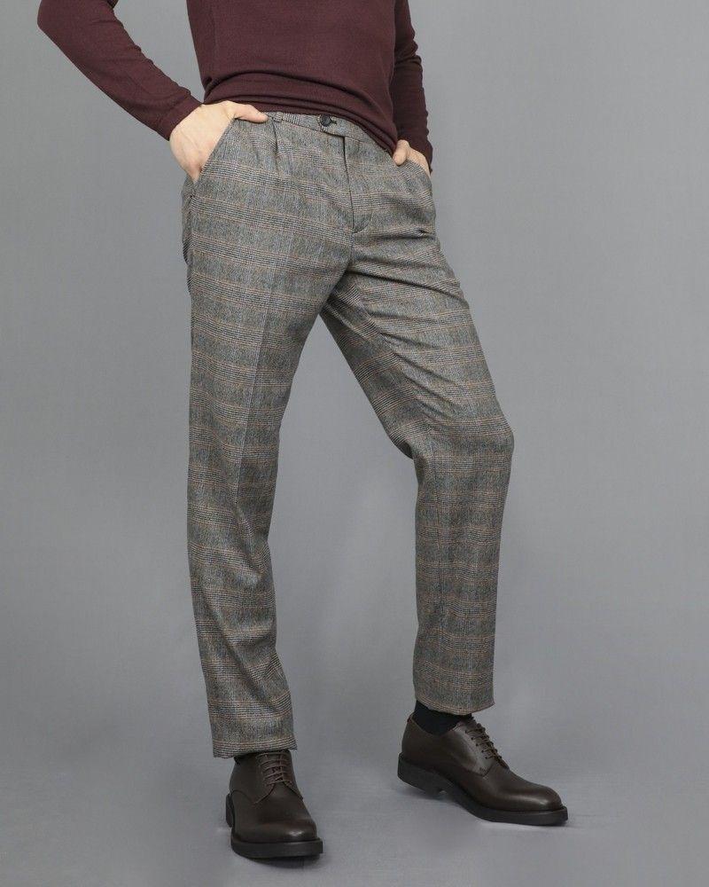 Pantalon carotte en laine grise à carreaux Editions M.R