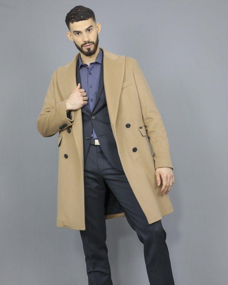 Manteau en laine et cachemire camel Palto