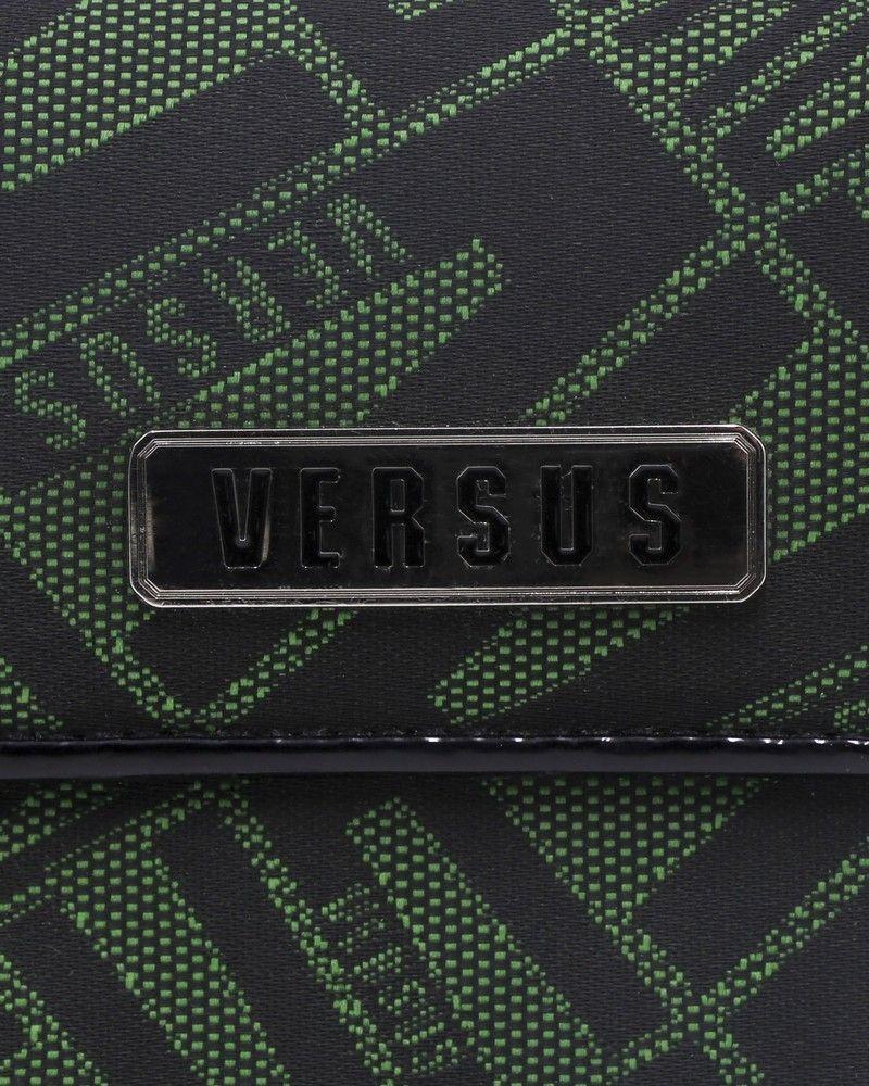 Portefeuille en coton à motif en jacquard et intérieur cuir ouverture à l'arrière Versace