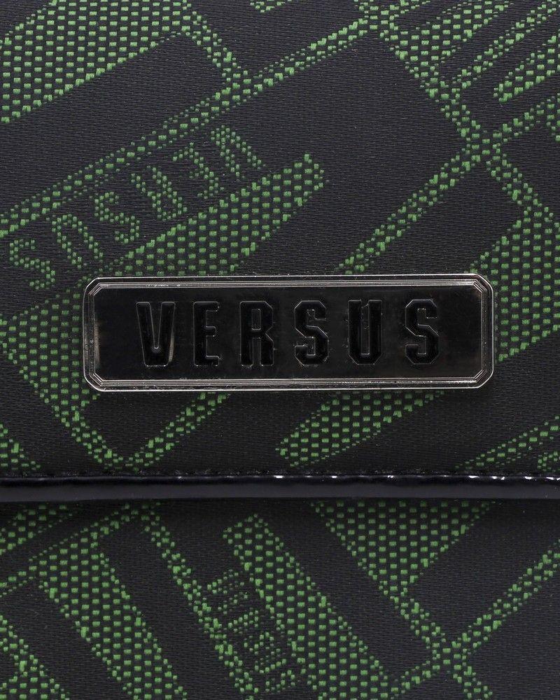 Portefeuille en coton à motifs en jacquard à finitions et intérieur cuir ouverture à l'arrière Versace