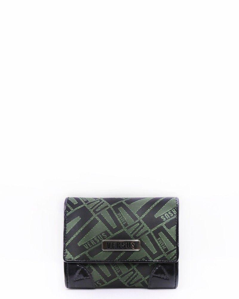 Portefeuille en coton à motifs en jacquard à finitions et intérieur cuir ouverture classique Versace