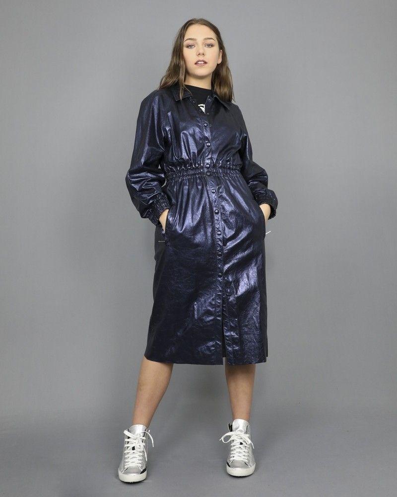 Manteau en cuir bleu métallisé Dondup