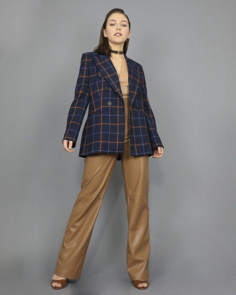 Veste blazer à carreaux double boutonnage Space Simona Corsellini
