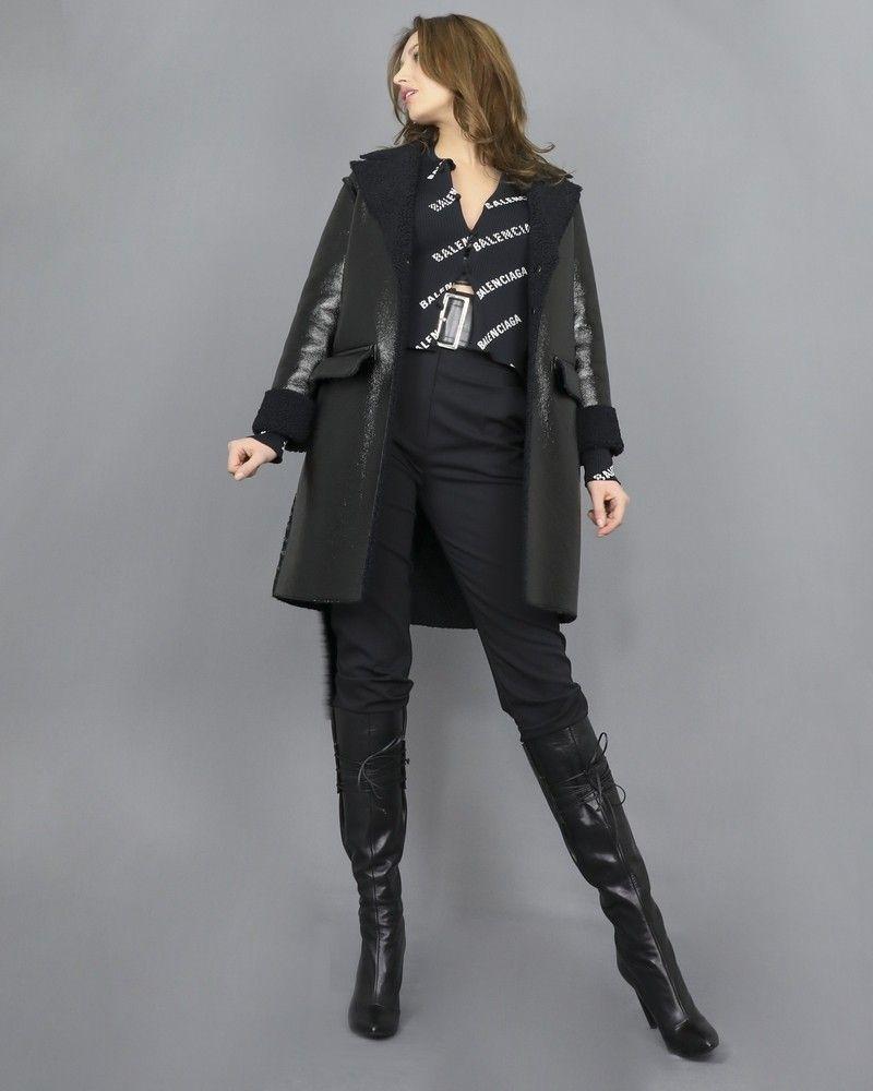 Manteau réversible en cuir et peau lainée synthétiques Oof Wear