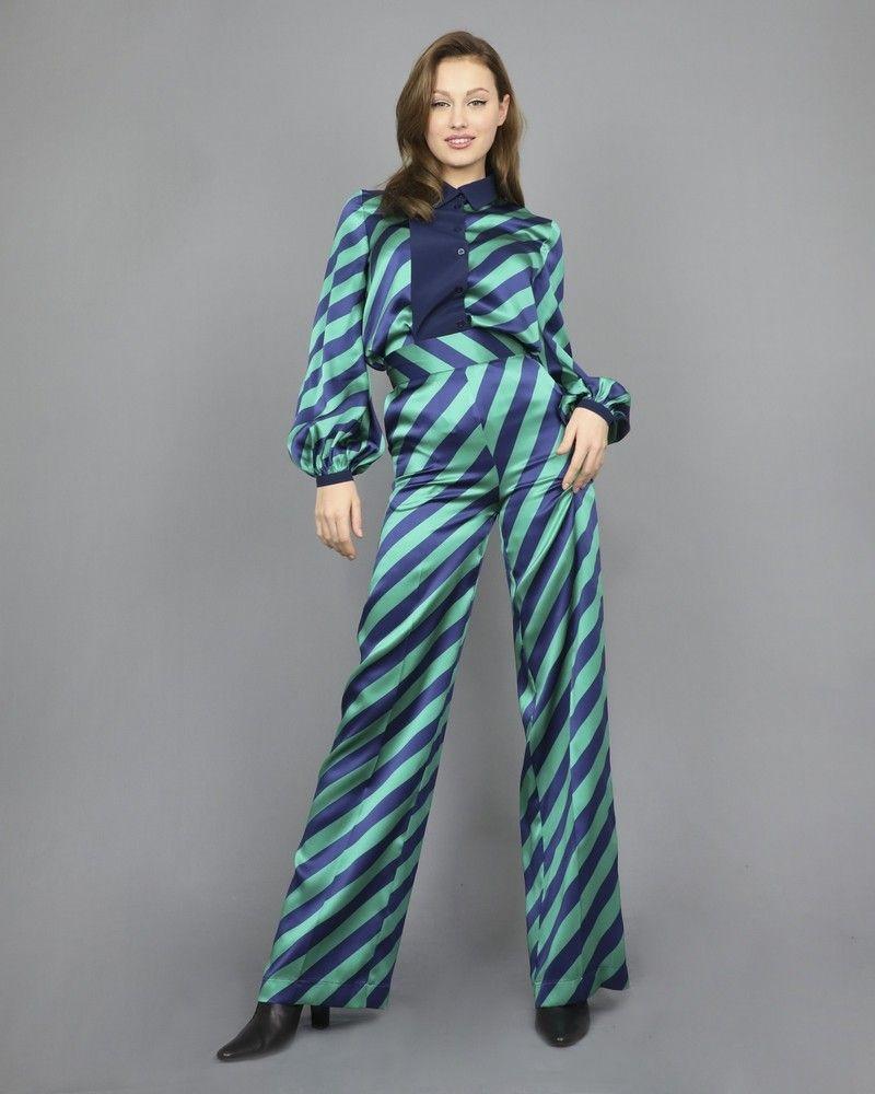 Pantalon palazzo 100% soie bicolore rayé Space Simona Corsellini