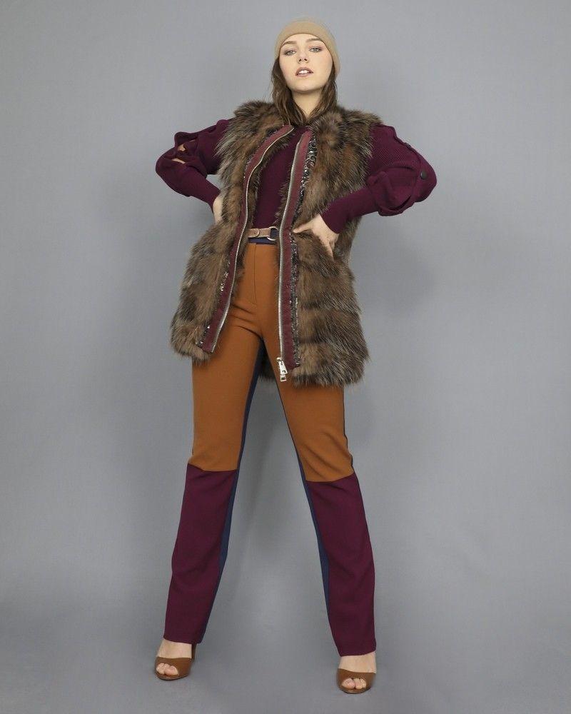 Manteau sans manches en peau lainée Foce