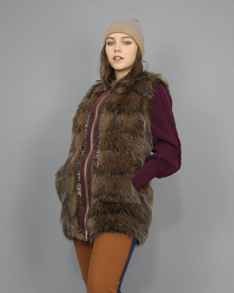 Manteau sans manche en peau lainée Foce