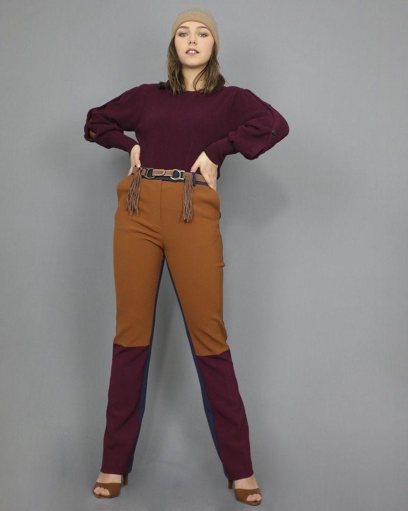 Pantalon droit multicolore bleu marine Space Simona Corsellini