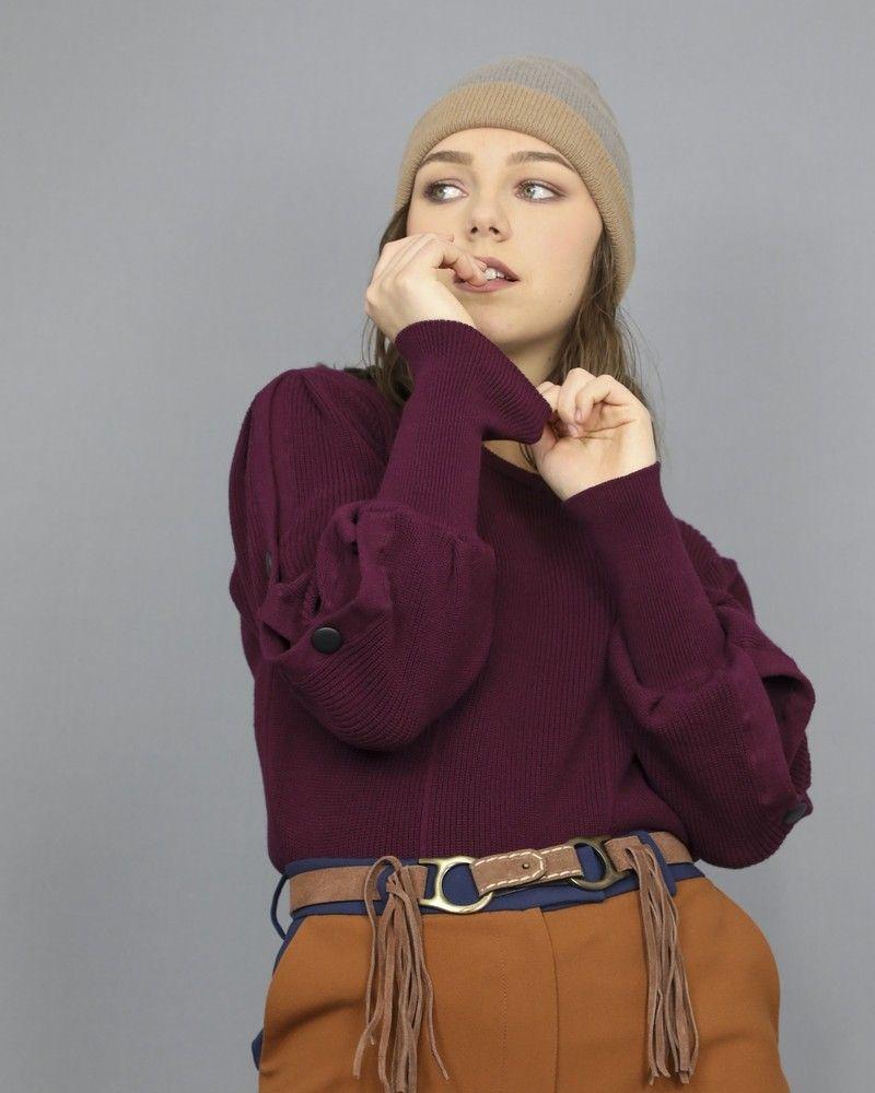 Pull violet à manches boutonnés Space Simona Corsellini