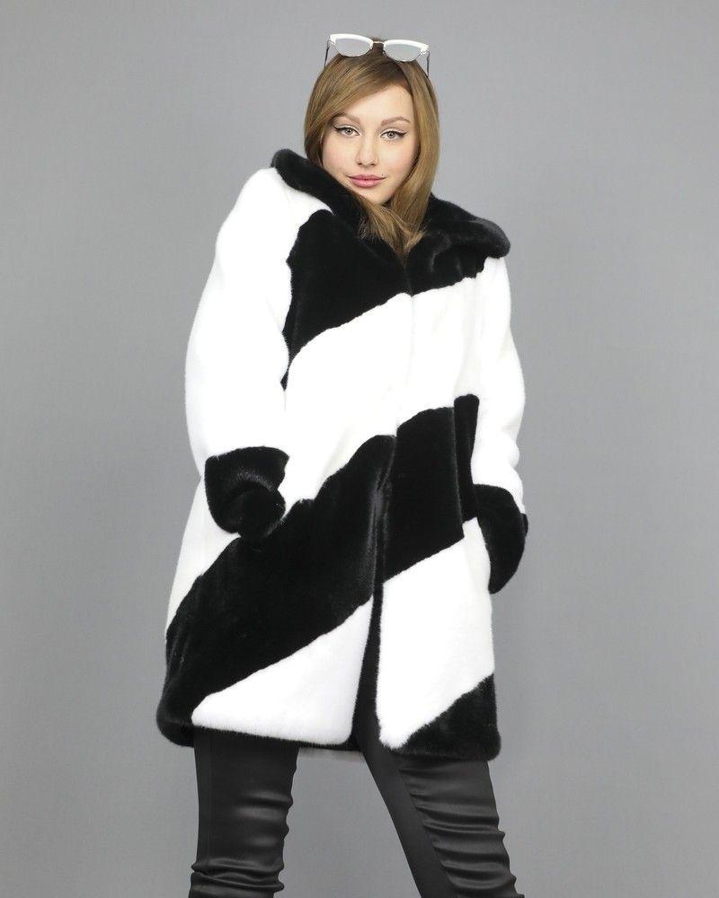 Manteau fourrure synthétique à larges rayures Guess