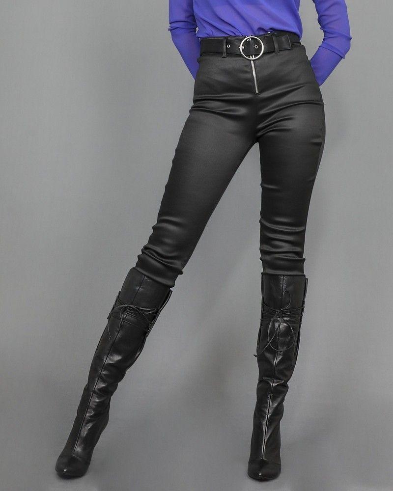 Pantalon skinny taille haute à ceinture Guess
