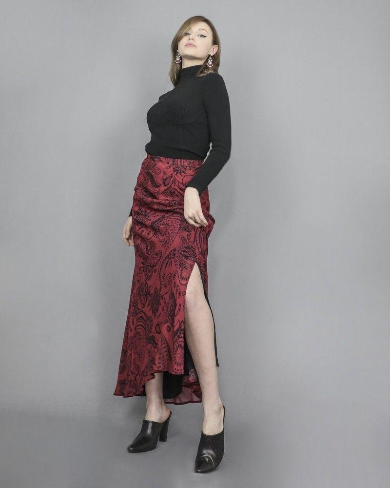 Jupe longue à motifs cachemire rouge Space Simona Corsellini