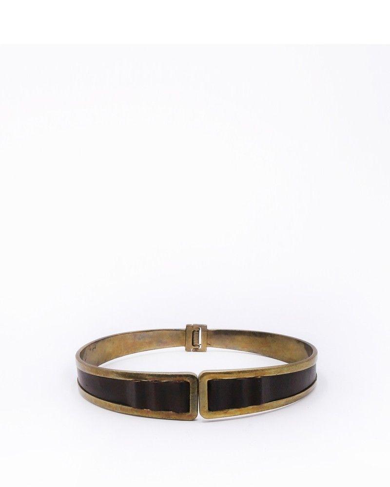 Tour de cou doré avec empiècement en cuir Etro