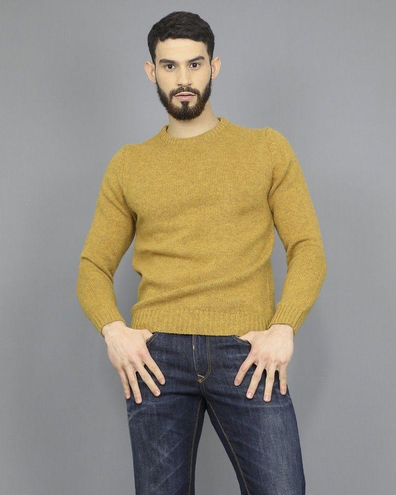 Pull en laine pure jaune moutarde Casheart