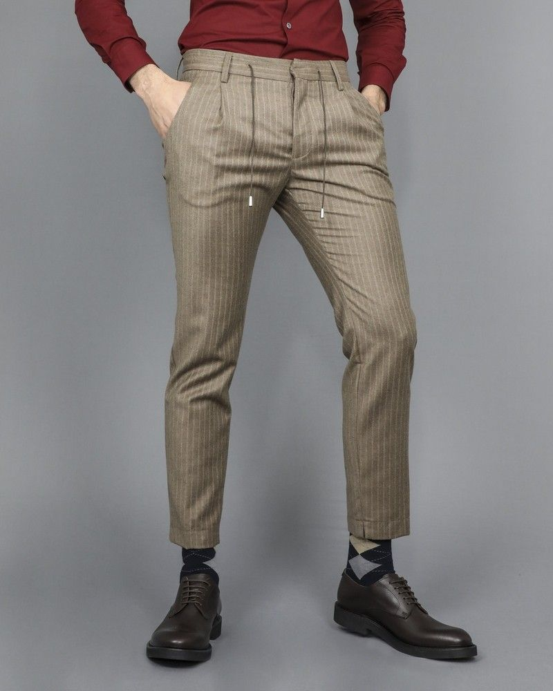 Pantalon à cordon beige Ly Adams