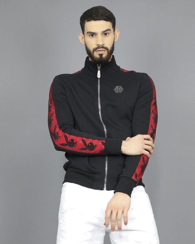 Veste de survêtement en jersey de coton appliqué Philipp Plein