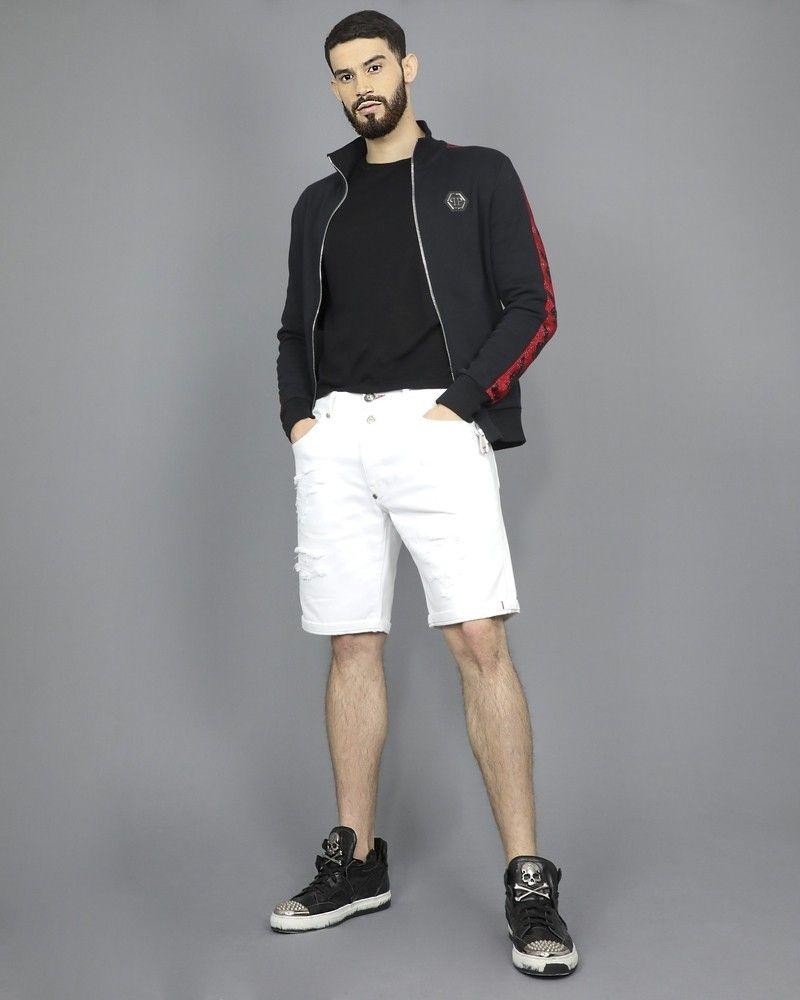 Short en jean blanc enfilé Philipp Plein