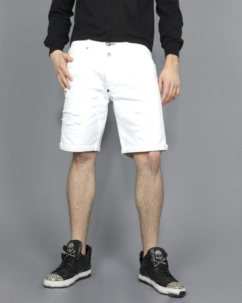 Short en jeans blanc enfilé Philipp Plein