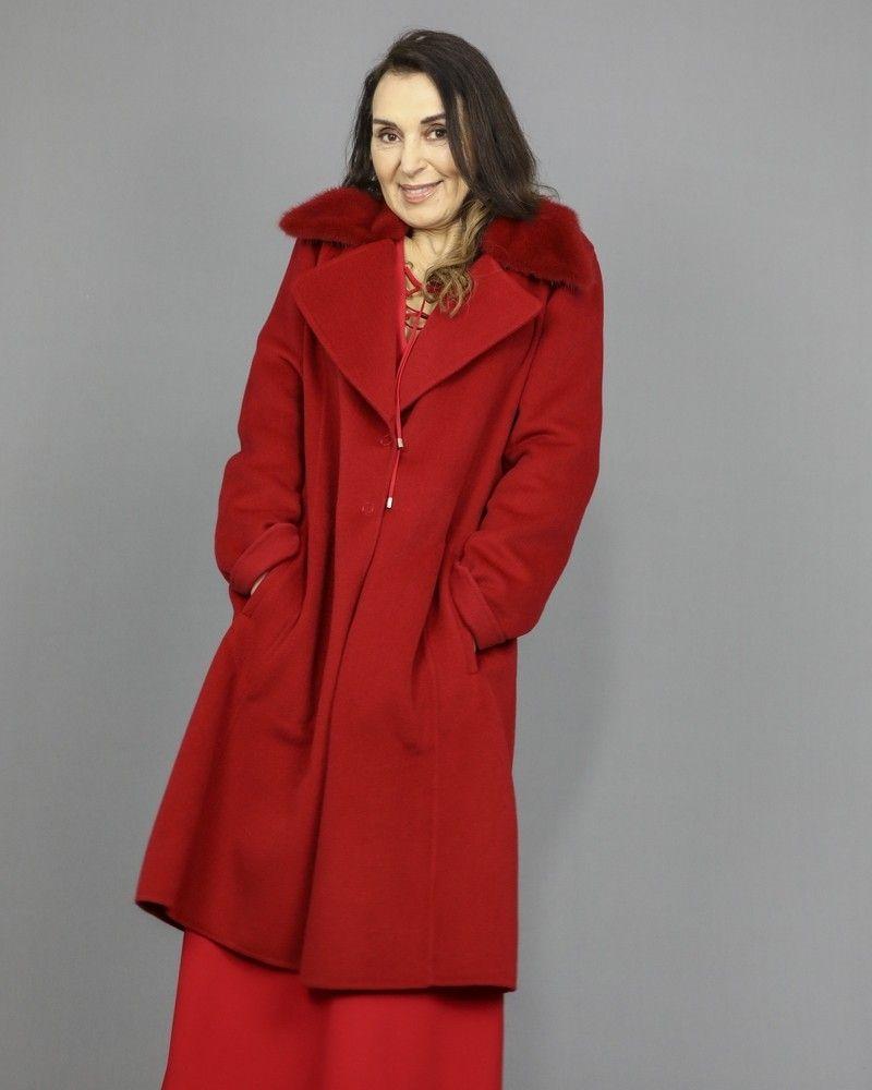 Manteau en laine à col Vison Manzoni 24