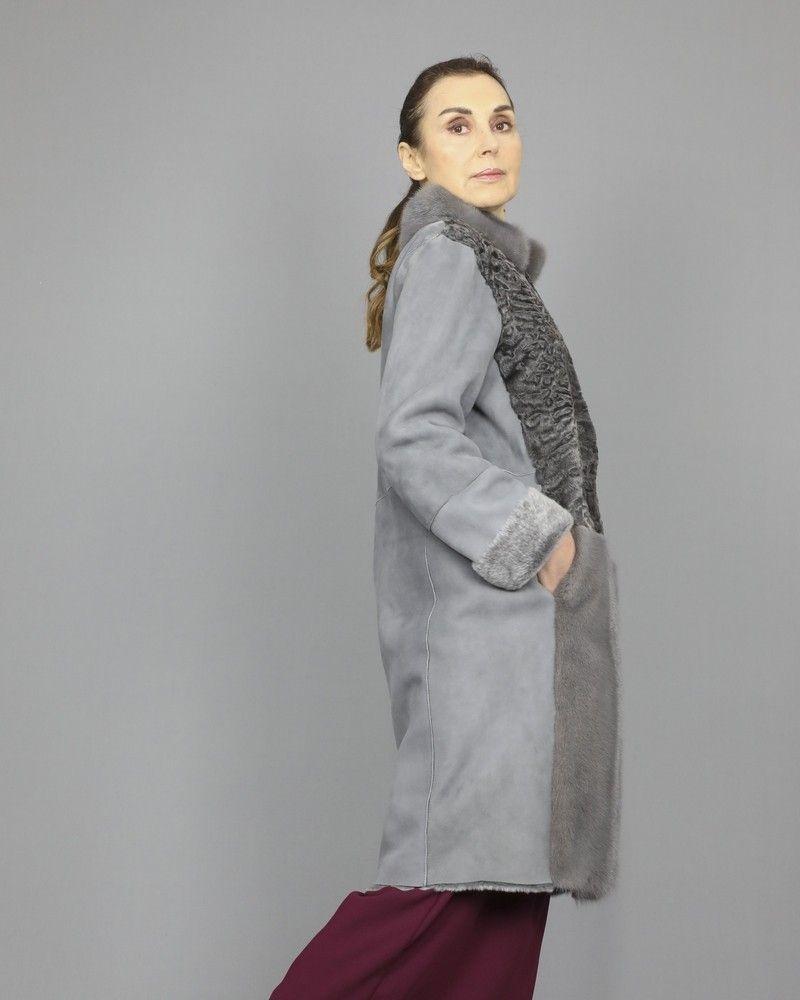 Manteau en cuir à empiècements de fourrure de Vison Manzoni 24