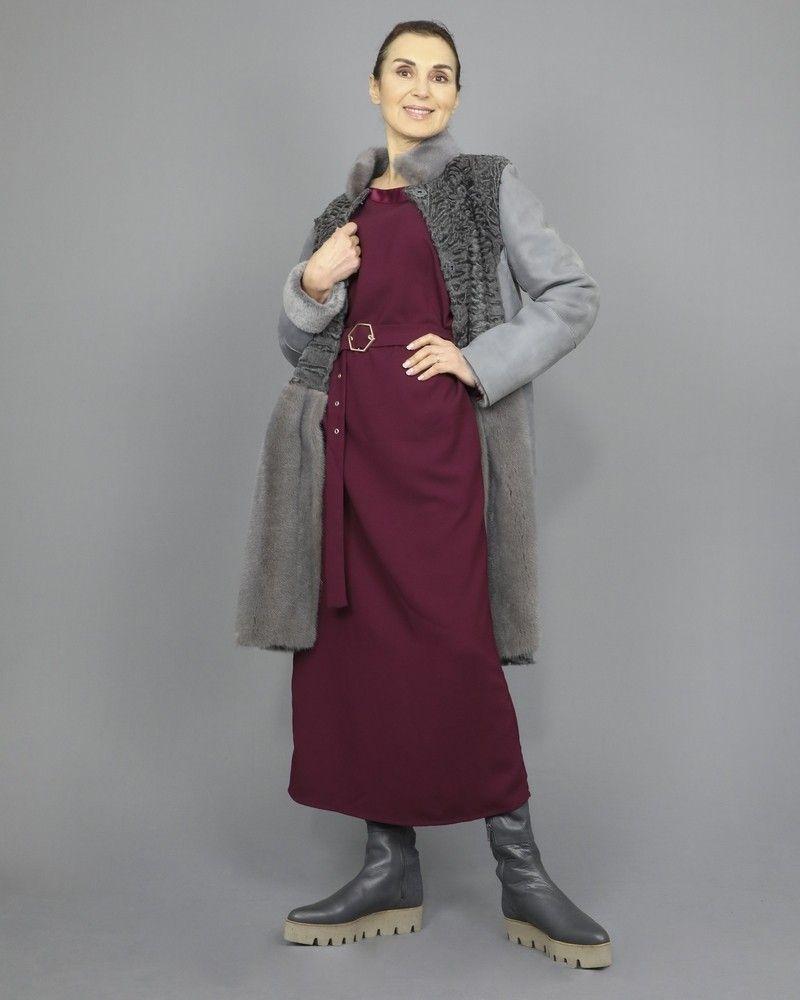 Robe longue en crêpe à finitions satin Space Simona Corsellini