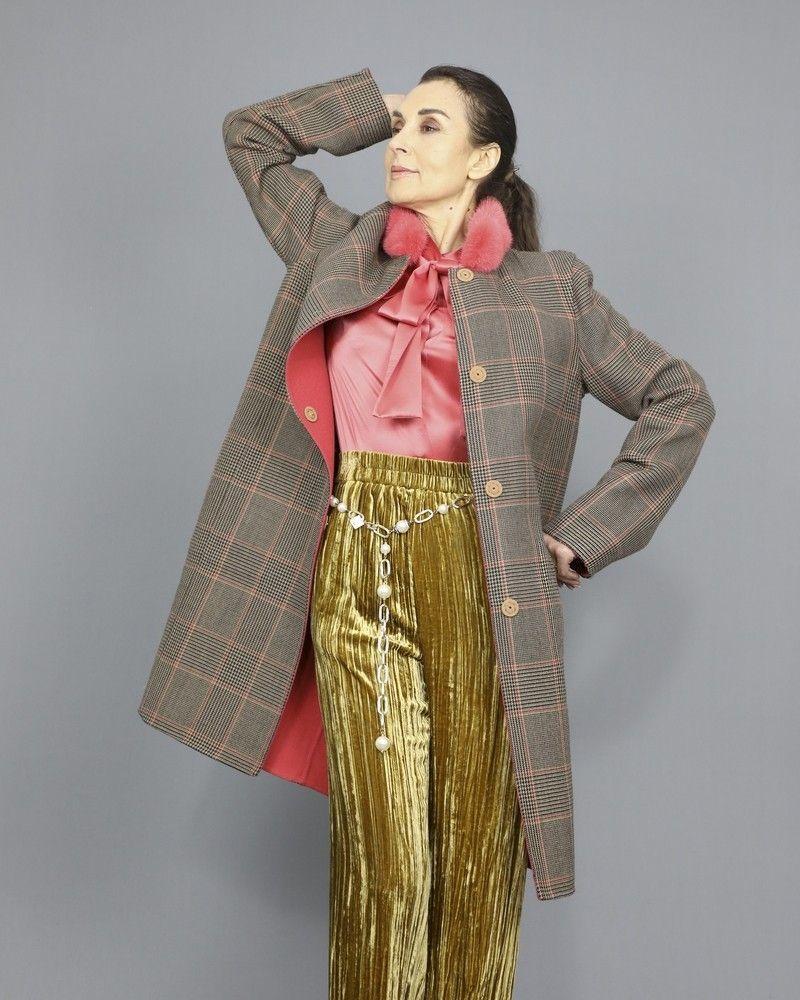 Manteau réversible en laine mélangée à col en Vison Manzoni 24