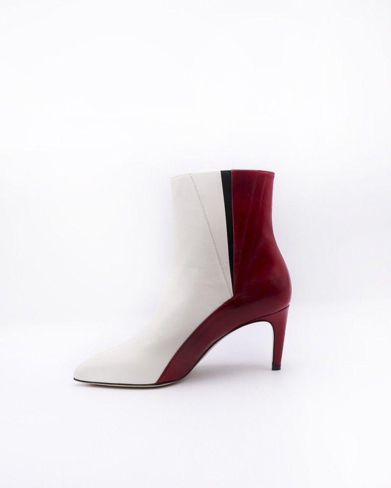 Bottines bicolores rouge et blanc Space Simona Corsellini