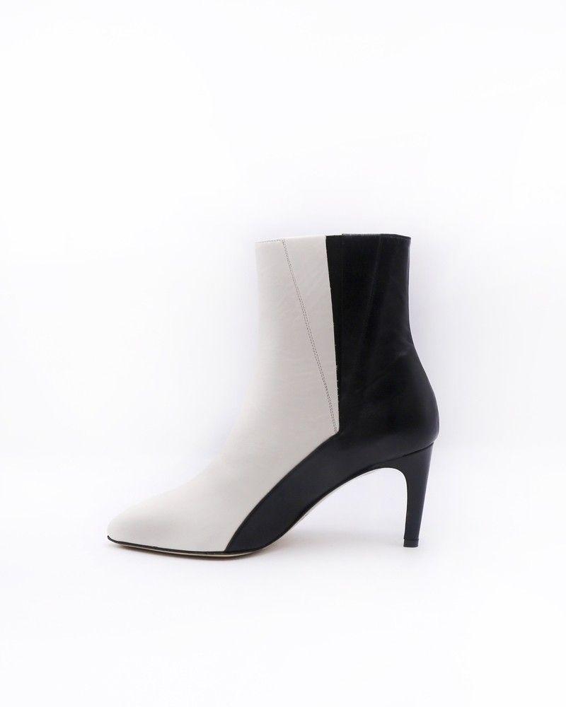 Bottines bicolores noir et blanc Space Simona Corsellini