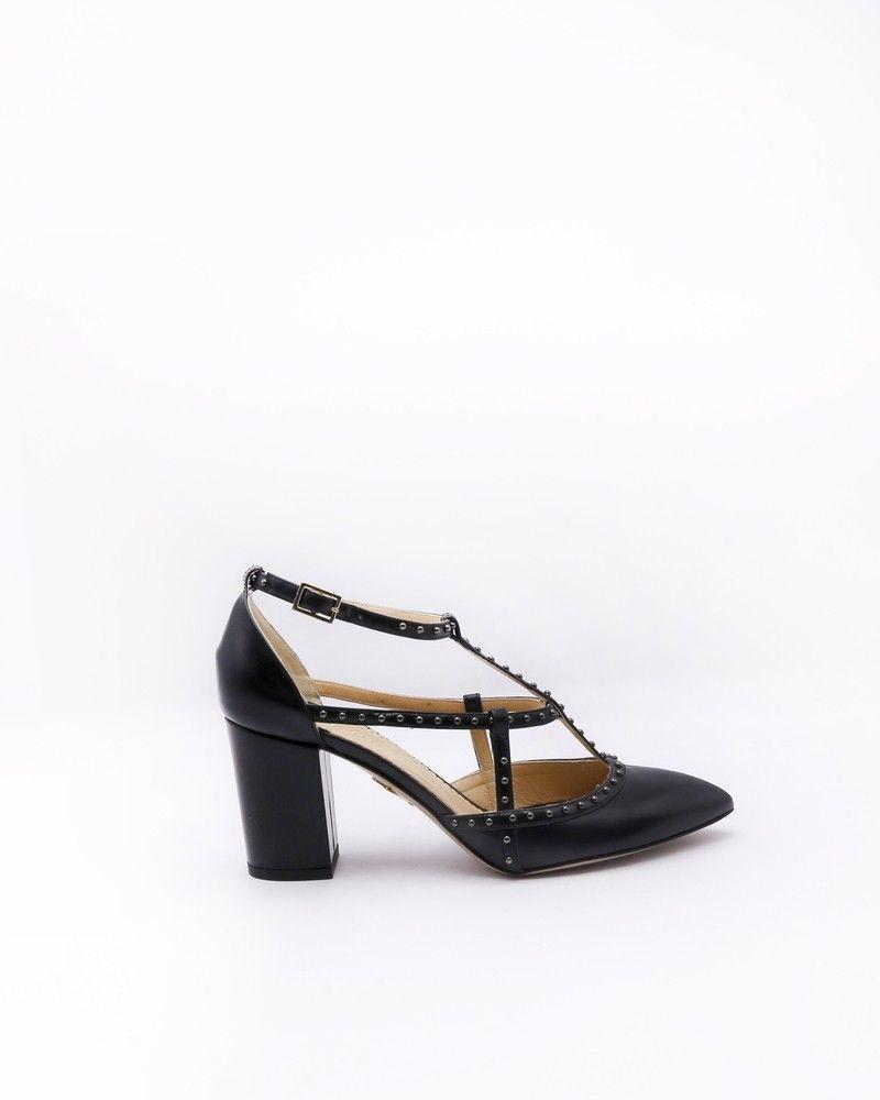 Escarpins noirs en cuir opaque à clous Charlotte Olympia