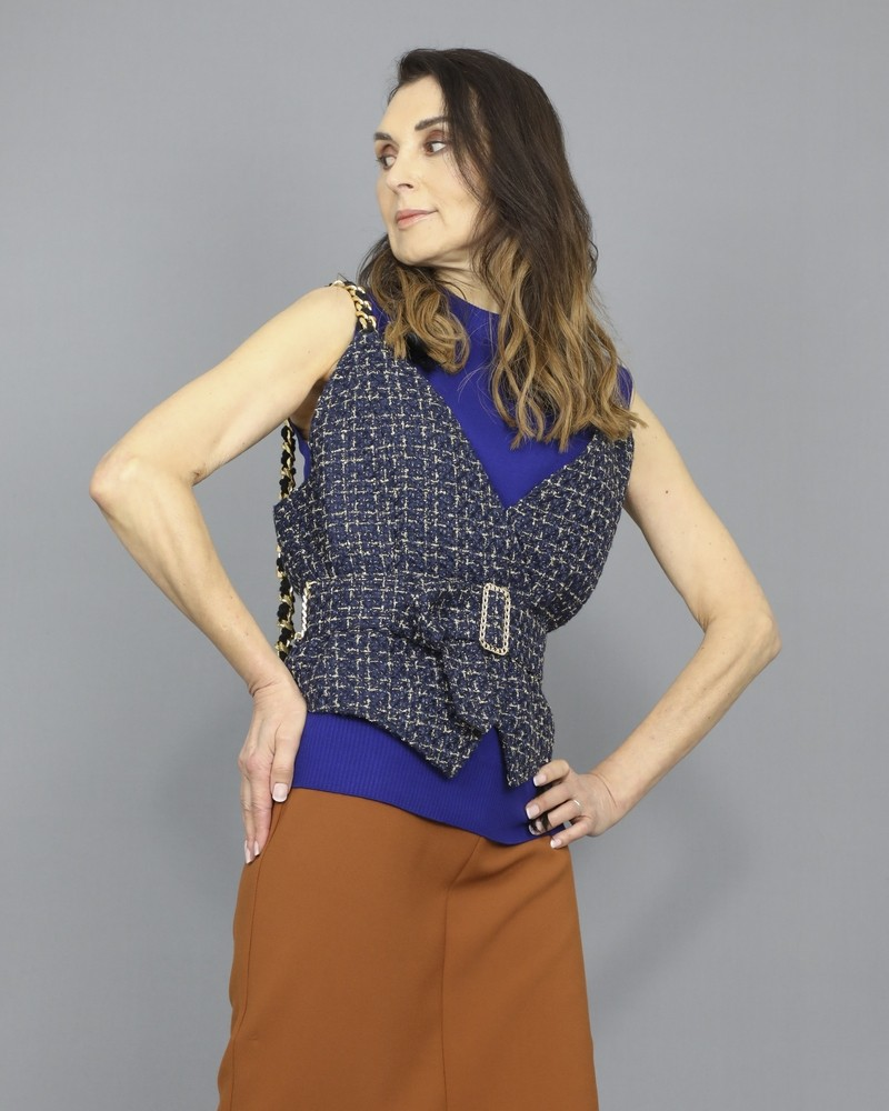 Gilet en tweed bleu ceinturé Edward Achour