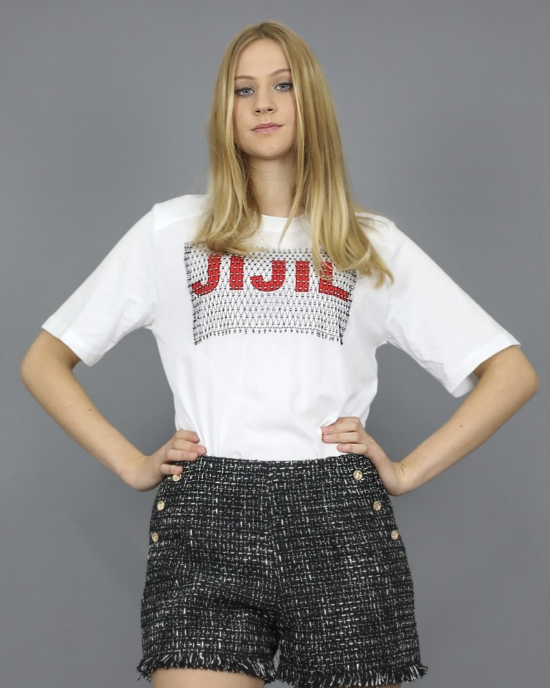 T-shirt blanc à empiècement en filet de strass Jijil