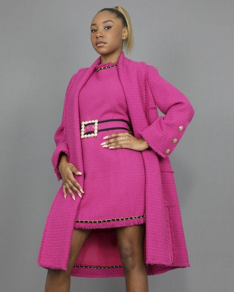 Manteau rose en tweed à boutons dorés Edward Achour