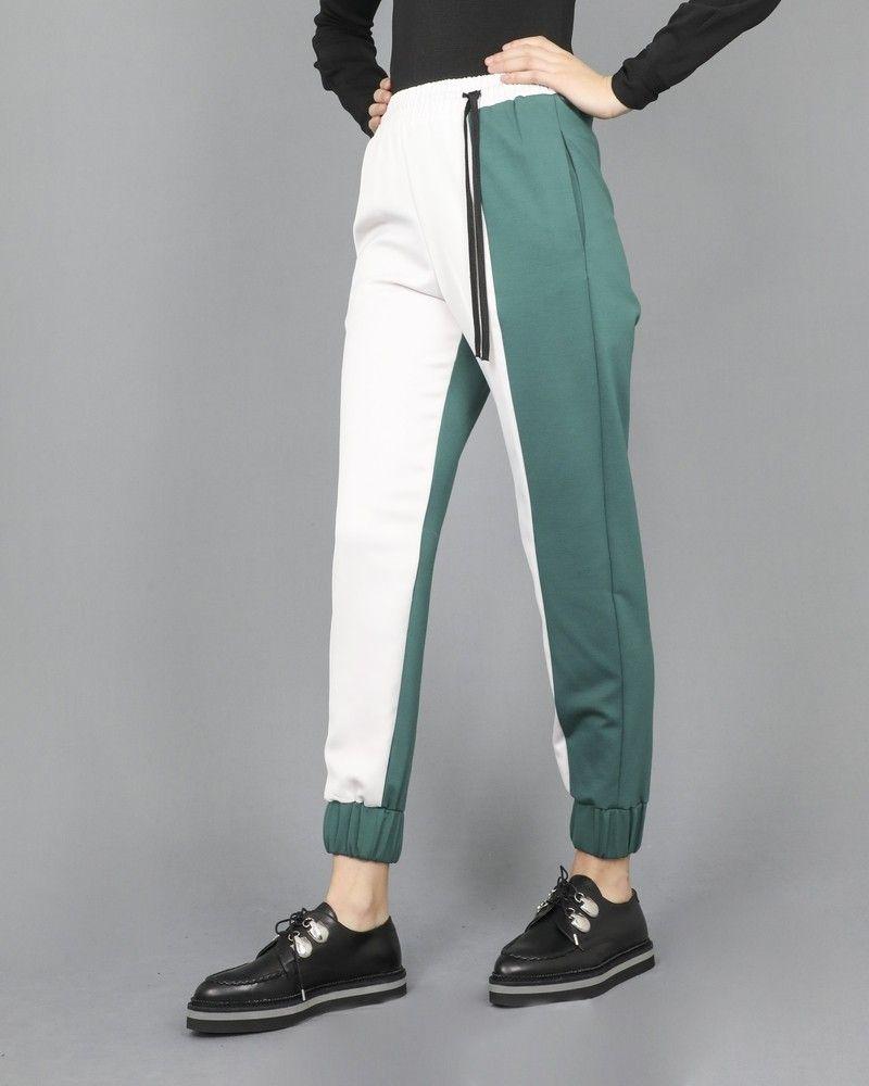 Pantalon vert et blanc Nude