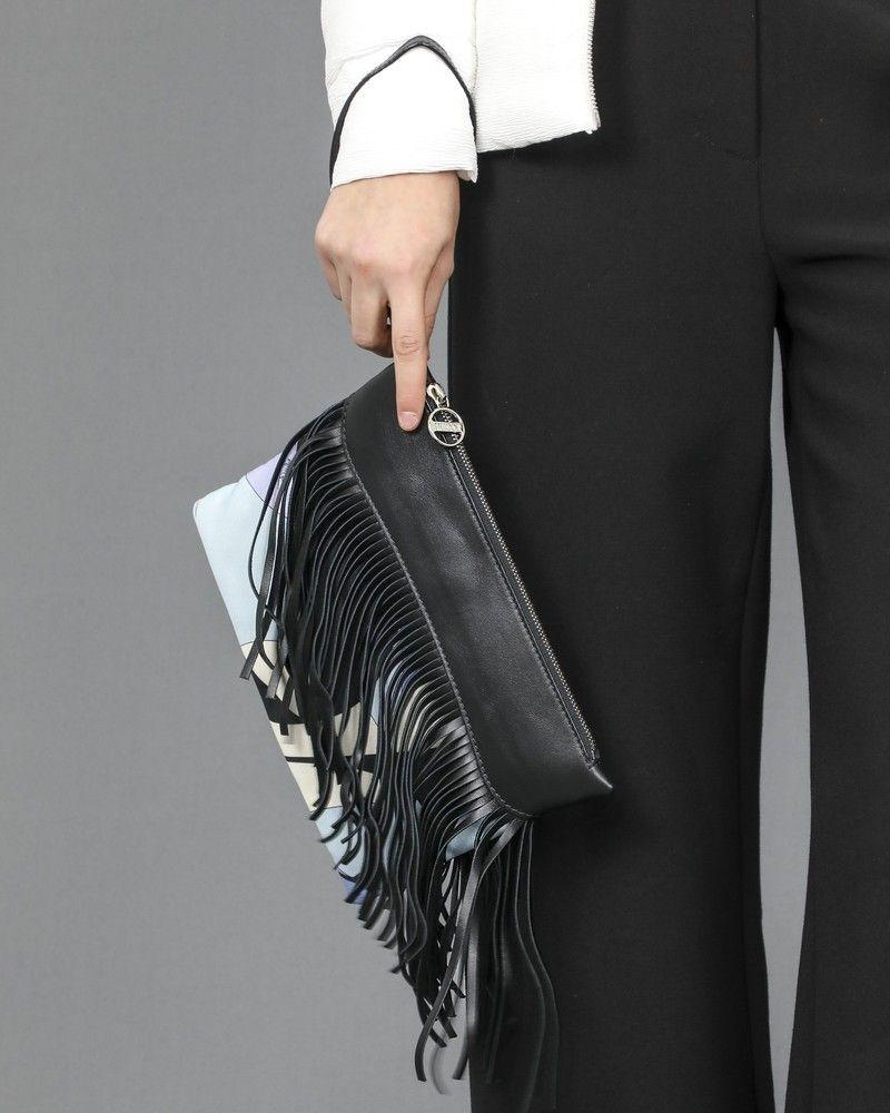 Pochette noir frangfée Emilio Pucci