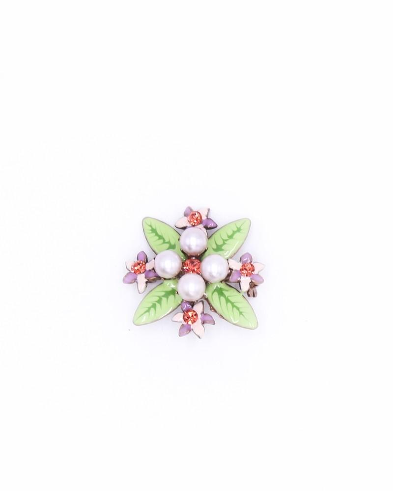 Broche florale avec perles Emanuel Ungaro