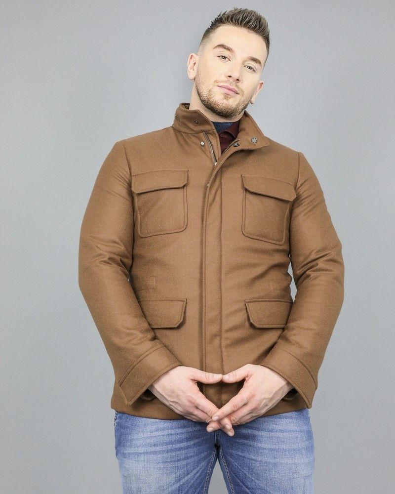 Veste marron en laine mélangée Manzoni 24