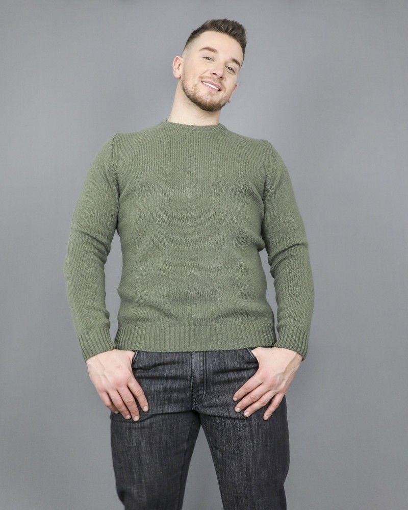 Pull à col rond en laine suisse vert militaire Casheart