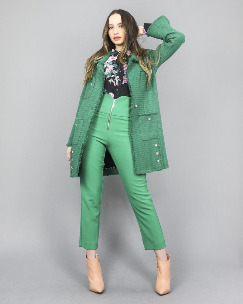 Collier argenté à large pendentif vert Jijil