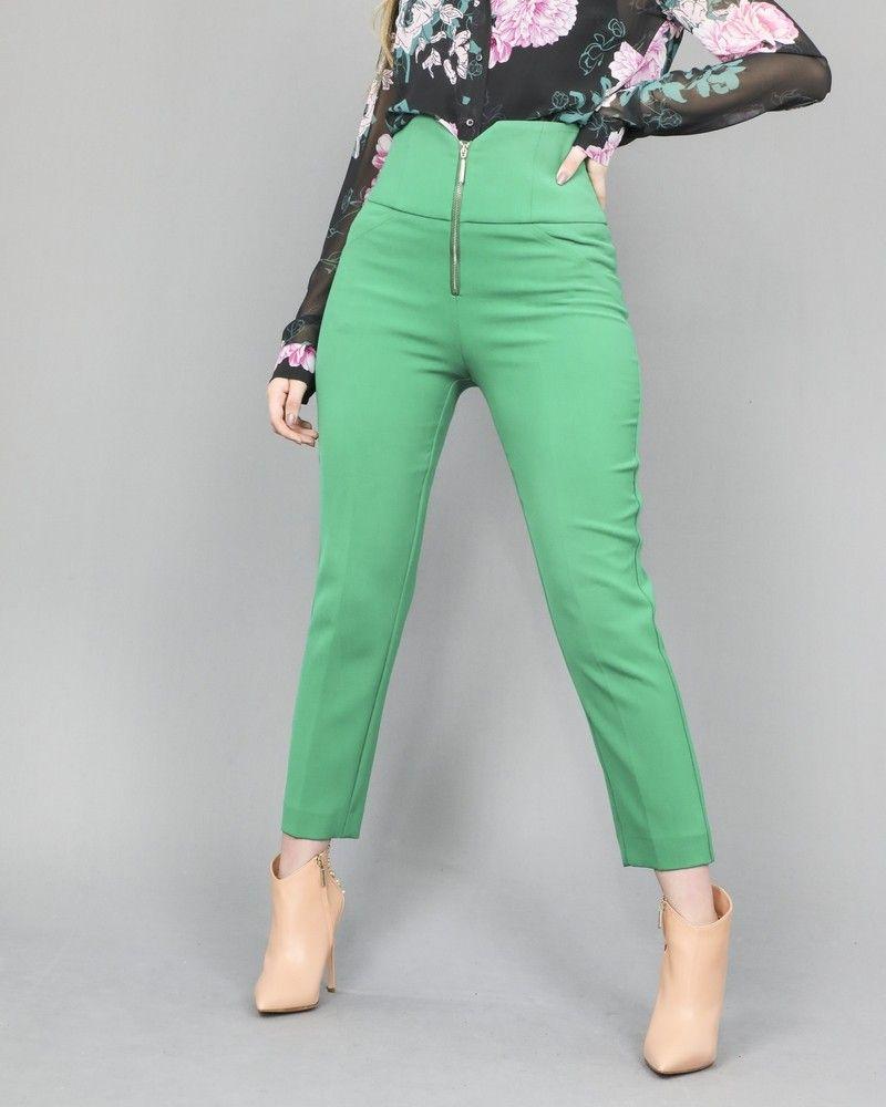 Pantalon droit raccourci vert Space Simona Corsellini